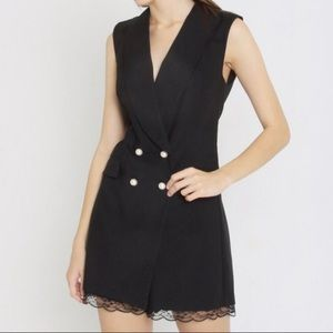 Tuxedo Romper With Pearl Detail
